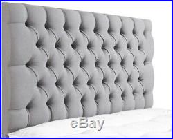 Chesterfield Upholstered Velvet Ottoman Gas Lift Bed Mattress Storage Headboard
