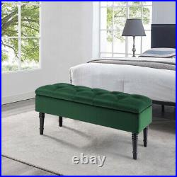 Chesterfield Upholstered Velvet Ottoman Storage Box Footstool Seat Stool Bench