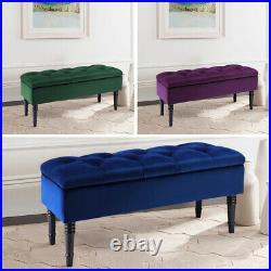 Chesterfield Upholstered Velvet Ottoman Storage Toy Box Footstool Seat Stool
