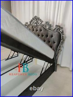 Chesterfield Upholstered Wingback Fabric Storage Gas Lift Bed Frame Velvet Crush