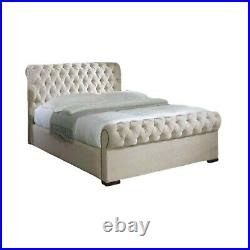 Chesterfield sleigh ottoman storage bed with or without 10 Orthopedic mattress