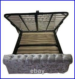 Chesterfield sleigh silver crush super king ottoman storage bed. No mattress