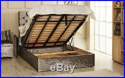 Christina Gas Lift Ottoman Storage Bed Upholstered in Crushed Velvet Esupasaver