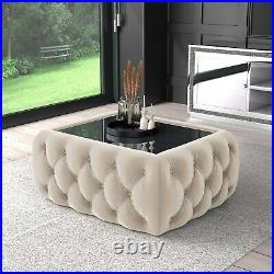 Clio Rectangle Storage Coffee Table in Cream Velvet with Mirrored Top