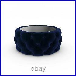 Clio Round Storage Coffee Table in Midnight Blue Velvet with Black Glass Top