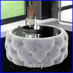 Clio Round Storage Coffee Table in Silver Velvet with Mirrored Top