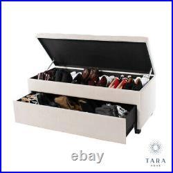 Cream Ivory Matte Velvet Upholstered Shoe Storage Bench Trunk Ottoman (b758)