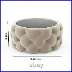 Cream Velvet Buttoned Coffee Table with Ottoman Storage Clio