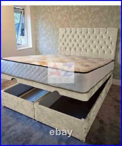 Crush Velvet Divan Base Storage Bed, Footend Opening ottoman Gas Lift Storage