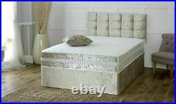 Crushed Velvet Bed with Storage Drawers Memory Foam Mattress & FREE Headboard