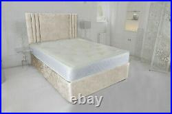 Crushed Velvet Cassie Bed Set Double Kingsize & Superking With Mattress & Head