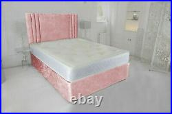 Crushed Velvet Cassie Divan Bed Set With Free Mattress And Headboard