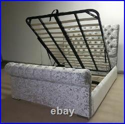 Crushed Velvet Chesterfield Ottoman Storage Upholstered Sleigh Bed & Mattress