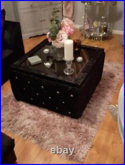 Crushed Velvet Chesterfield Upholstered Glass Top Coffee Table With Storage