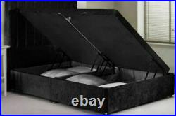 Crushed Velvet Chesterfield Upholstered Ottoman Storage Bed Headboard Mattress