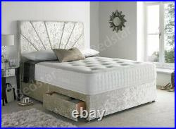 Crushed Velvet Cream Divan Bed Set With Memory Mattress And Free 20 Headboard