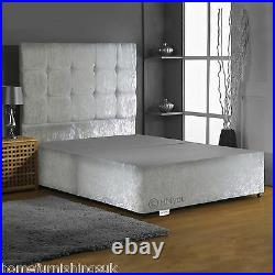 Crushed Velvet Divan Base With Under Bed Storage+ 30 Headboard All Sizes