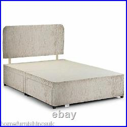 Crushed Velvet Divan Base With Under Bed Storage+Headboard All Sizes