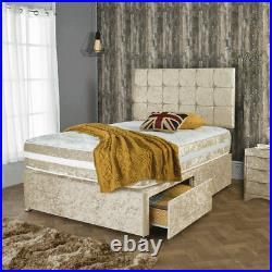 Crushed Velvet Divan Bed With Memory Foam Mattress&Headboard+Storage Drawers