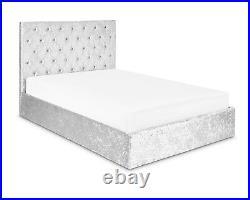 Crushed Velvet Grey Ottoman Diamante Bed with Storage & Sprung Mattress Option