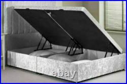 Crushed Velvet Upholstered Lift Up Storage Ottoman Bed Frame Headboard Mattress