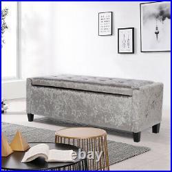 Crushed Velvet Upholstered Ottoman Lift Up Storage Bench Bedside Window Seat