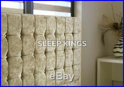 Cubed Upholstered Crushed Velvet Bed Frame Storage 4'6 5'0 4 Colours In Stock