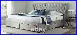 Curved, buttoned, tall. Grey velvet fabric upholstered drawer storage bed frame