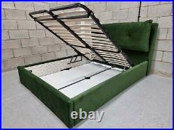 DFS Joules Patterdale Forest Green Velvet King Size Storage Ottoman Bed Frame