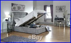 Dakota Ottoman Storage Bed Gas Lift Bedstead Fabric 4ft6 5ft Platinum Finish