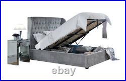 Dakota Solid Base Platinum Fabric Ottoman Storage Bed 4ft6 Double & 5ft King
