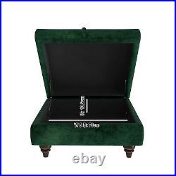 Dark Green Ottoman Storage Footstool Buttoned Inez INE002