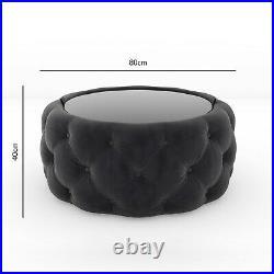 Dark Grey Velvet Buttoned Coffee Table with Ottoman Storage Clio