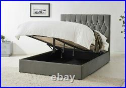 Dark Grey Velvet Ottoman Storage Bed Gas Lift Memory Foam Mattress Bundle