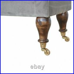 Dark Grey Velvet Ottoman Storage Bench With Castor Feet 120cm Art Deco Style