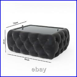 Dark Grey Velvet Storage Coffee Table with Glass Top Buttoned Clio CCC007