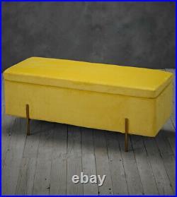 Davine ottoman box upholstered plush mustard velvet storage unit metallic legs