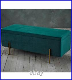 Davine ottoman box upholstered plush teal velvet storage unit metallic legs