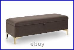 Deco Brown Truffle Velvet Fabric Blanket Duvet Ottoman Storage Box Gold Legs