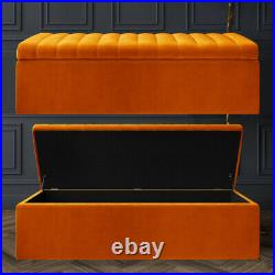 Designer Upholstered Footstool, Bench Blanket Box Ottoman Kids Toys Storage Box