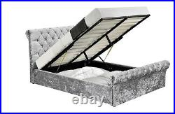 Designer Velvet Silver Double Ottoman Fabric Bedframe Storage Diamante Details