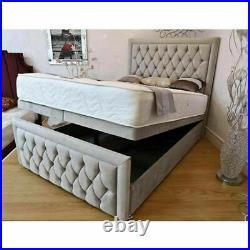 Divan Ottoman Storage Bed Gas Lift Up Fabric Bed Base Frame Headboard Footboard