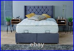 Double 4.6ft Divan Ottoman Storage Bed with Floor Standing Wing Headboard