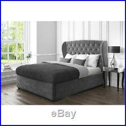 Double Grey Velvet Wing Back Ottoman Storage Bed- Safina Range