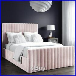 Double Velvet Ottoman Bed in Navy Blue Side storage