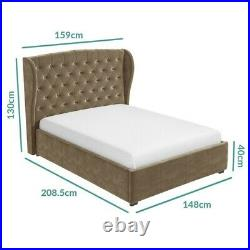 Double bed ottoman wing back mink brown ottoman storage lifting mechanism