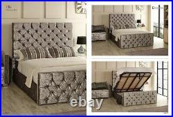 Ella Gas Lift Ottoman Storage Bed Crushed Velvet, Chenille, & Linen Fabrics