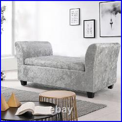 Fabric Arm Chaise Bench Ottoman Storage Upholstered Window Seat Longue Footstool