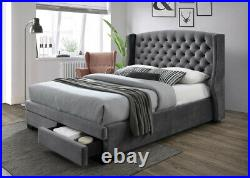 Fabric Bed Frame Grey Double King Plush Velvet Storage Drawers Chesterfield Hela