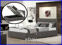 Fabric Bed Ottoman Option 3FT 4FT 4FT6 5FT King Double Single Gas Lift 50% off